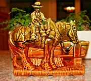 VINTAGE MCCOY POTTERY GREEN AND BROWN COWBOY PLANTER
