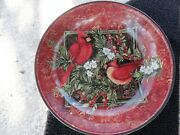 Certified International Christmas Cardinals Red Green White Pasta Serving Bowl