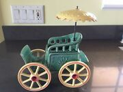 Vintage Green Yellow 50's Nelson McCOY CARRIAGE Buggy Planter with UMBRELLA USA