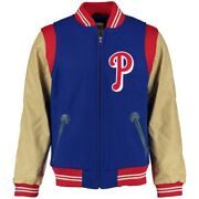 Philadelphia Phillies Mitchell And Ness Royal/tan Auth Wool And Leather Jacket 40/m