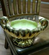RARE VINTAGE WEEPING GOLD /GREEN GLASS PLANTER WITH HANDLES
