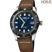 Oris Menand039s Divers Sixty-five 01 733 7720 4055-07 5 21 02 Blue Dial Leather Strap