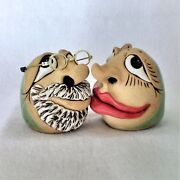 Salt-Pepper Shaker-Pottery-Handmade-New-Whimsical Mugly faces-One of kind-Signed