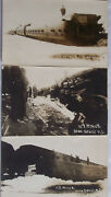 3 Unused Real Photo Postcards Northern Pacific Train Wreck Bulegrass Nd 1915