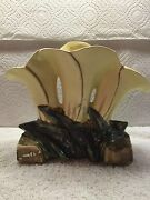 Pottery Signed McCoy Tri fluted vase in good condition