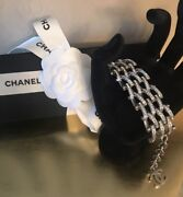 Silver Chain Link Bracelet With Dangling Cc Charm Authentic New W/ Tag