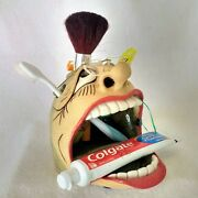 Tooth Brush-Paste Holder-Pottery-New-Comes with-replaceable Dental Floss-Signed