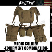 Wwii Ww2 Us Army Soldier Combat Medic Equipment Field Kit Suspenders Cantles Set