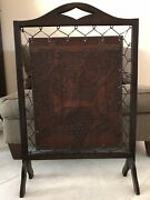 Antique Arts And Crafts Wood And Leather Fire Screen Grapevine Theme
