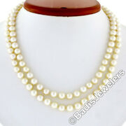 Antique 16 Double Strand Pearl Necklace W/ 14k Gold 0.65ctw Diamond Swan Clasp