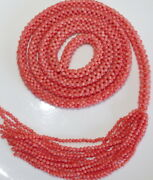 Exquisite Italian Antique Large 36 Undyed Woven Braided Salmon Coral Necklace
