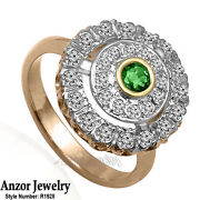 14k Rose White And Yellow Gold Genuine Emerald And Diamond Russian Style Ring.