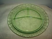 Cameo Ballerina Dancing Girl Green Depression Glass 3 Part 10 1/2'' Grill Plate