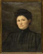 Antique Painting Oil Framed Portrait Of A Victorian Woman Giltwood 1800and039s