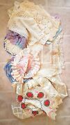 Huge Lot 50 Vintage Antique Lace Crocheted Tatted Runners Tablecloths Doilies 3