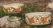 Set Of 2 1915 Roseville Footed And Bowl Compote Donatello Pattern
