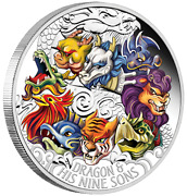 2015 Dragon And His Nine Sons 5oz Silver Proof Coloured Coin