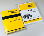 Operator Parts Manual Set For John Deere 4020 Tractor Catalog Sn/201000 And Up