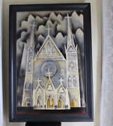 1965 Midcentury Raine Modernist Surrealist Oil Painting Church Cathedral Signed