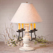 Colonial Table Lamp And Fabric Shade Distressed Vintage White 3 Light Options Usa