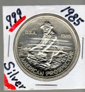 1985 One Troy Ounce .999 Silver The American Prospector Round Coin
