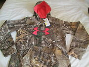 New Womens Under Armour Real Tree Camo Hoodie W/ Pink Big Logo Md Free Shipping