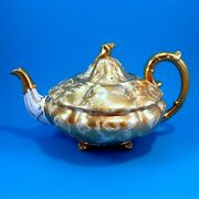 Rare Ornate Footed Gold Tapestry Royal Stafford Large Teapot / Tea Pot