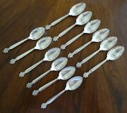 Twelve 12 Georg Jensen Acanthus Sterling Silver Oval Soup Place Spoons 6-7/8