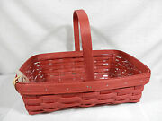 Longaberger 2015 Small Gathering Basket W/ Protector, Brick Red - New, Easter
