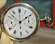 Rare Watch Crono House Escasany. S.a. Omega Antique Pocket Of '900 Steel