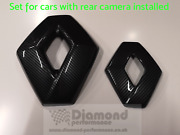 Carbon Effect Frontandrear Badge Covers For Renault Clio 4 2017-19 Cars W. Camera