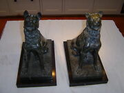 Pair Green Marble Dogs On Black Marble Plinths, 19th Century