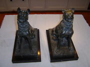 Pair Green Marble Dogs On Black Marble Plinths 19th Century