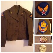 Us 6th Army Air Force M1943 Ike Jacket Tunic Wwii W/ Patches Pins Aaf Aac 34 R