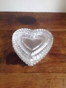 Vintage Crystal Clear Heart Shape Jewelry/trinket Boxes Two Piece Great Quality