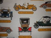 Vintage F Schumacher Horseless Carriage Fabric 6.5y Antique Cars Model T Bugatti