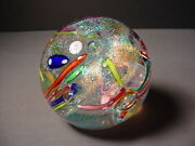 Glass Eye Studio 3 Confetti And Air Bubbles Diamond Dust Paperweight Ges 1998
