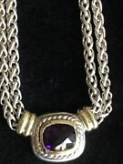 David Yurman Ss And 14k Yg Faceted Amethyst Albion Double Wheat Chain Necklace