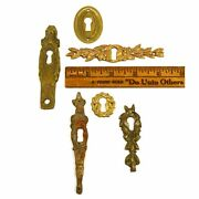 Antique Brass/bronze Escutcheon Lot Of 6 Vertical And Horizontal Keyhole Covers