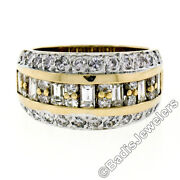 14k Two Tone Gold 1.78ctw Channel Baguette And Round Diamond Wide Band Ring Size 6