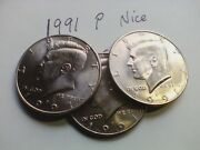1991-p Kennedy Half Dollar - Choice Hand Picked Au Or Better Gift
