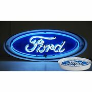 Ford Oval Light Banner Olp Sign Car Dealer Neon Sign Steel Can 30 By 12 By 6