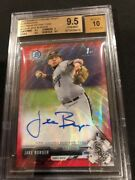 2017 Bowman Chrome Draft Jake Burger Red Wave Auto Refractor /5 Bgs 9.5/10