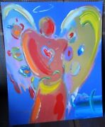 Peter Max 'angel With Heart' Original Mixed Media Studio Stamp And Signed Rare