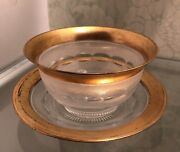 Antique Gold Encrusted Rim Clear Crystal Dessert Bowl W /underplate