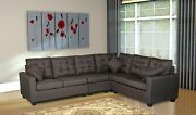 Large Dark Brown Couch Sectional Cloth Modern Contemporary Upholstered New