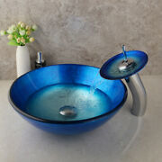 Us Bathroom Sink Set Blue Tempered Glass Vessel Sink With Waterfall Faucet Sets