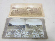 2 Antique Stereoscope Viewer Cards-philippines- Washington Volunteers And Caraboas