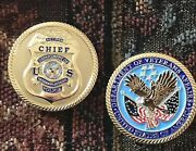 Veterans Affairs Police Retired Chief Badge Challenge Coin Gold Plate