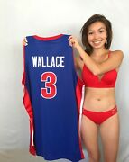 Ben Wallace Detroit Pistons Authentic Adidas Game Model Stitched Blue 3 Jersey